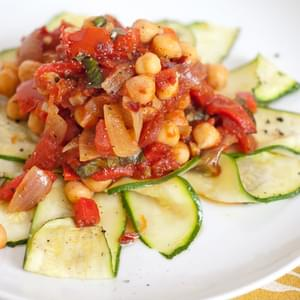 Zucchini Noodles with Arrabiata Chickpea Sauce