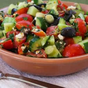 Chopped Tomato and Cucumber Salad with Mint, Feta, Lemon, and Thyme