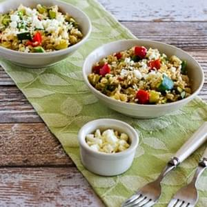 Slow Cooker Brown Rice Veggie Bowl with Asparagus, Red Bell Pepper, Zucchini, and Feta