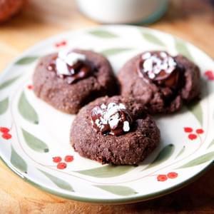 Triple-Chocolate Peppermint Thumbprint Cookies