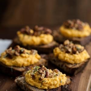 Whipped Sweet Potato Goat Cheese Crostini