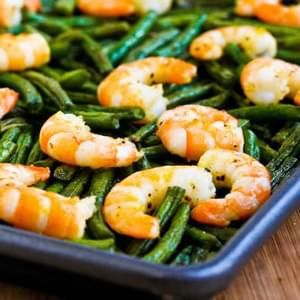 Recipe for Spicy Roasted Green Beans (or Broccoli) and Shrimp