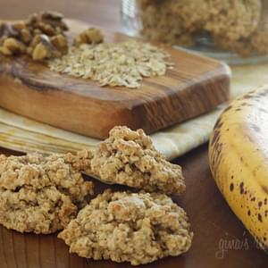 Chewy Low Fat Banana Nut Oatmeal Cookies