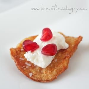 Crispy Chicken Skin with Goat Cheese and Pomegranate (Low Carb & Gluten Free)