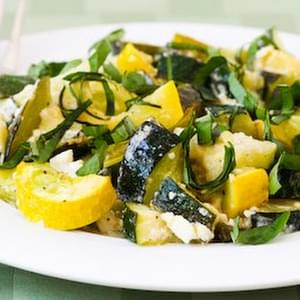 Roasted Zucchini with Green Onions, Feta Cheese, and Basil
