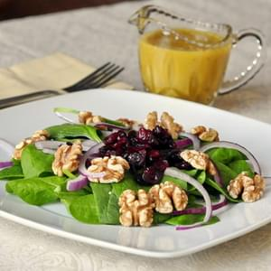Cranberry Walnut Spinach Salad with Maple Dijon Dressing