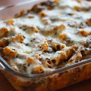 Low Fat Baked Ziti with Spinach