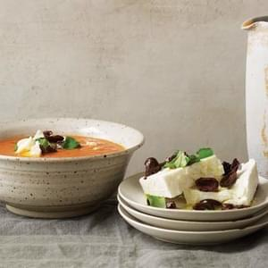Chilled Tomato Soup with Aged Feta and Olives