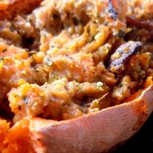 Bacon Basil Twice Baked Sweet Potatoes