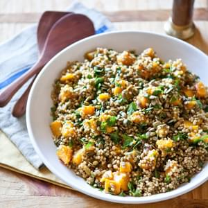 Spiced Butternut Squash and Sorghum Salad with Raisins & Pepitas