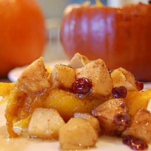 Apples and Cranberries Baked in a Pumpkin