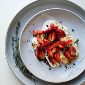 Strawberry Mozzarella with Thyme Balsamic Sauce