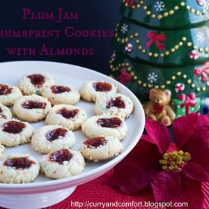 Plum Jam Thumbprint Cookies with Almonds