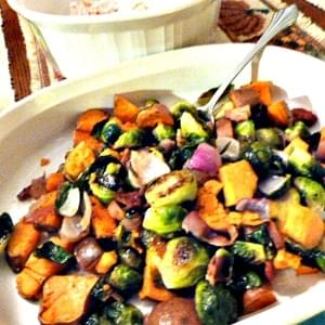 Roasted Brussels Sprouts and Sweet Potatoes with Turkey Bacon, Red Onion, and Balsamic Drizzle
