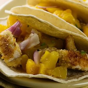 Tilapia Tacos with Peach Salsa