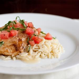 Grouper with Garlic-Lemon Butter Sauce