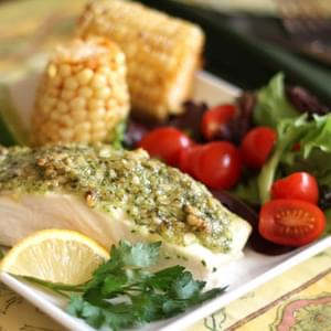 Baked Halibut with Pine Nut, Parmesan and Pesto Crust