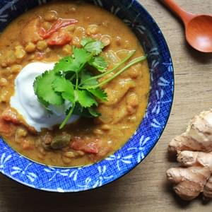 Curried Lentil Soup with Yogurt