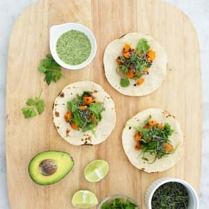 Miso-Maple Sweet Potato Tacos with Coconut-Cilantro Sauce
