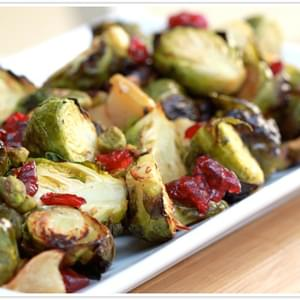 Maple Roasted Brussels Sprouts with Apples and Cranberries