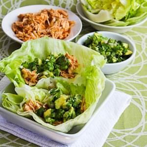 Slow Cooker Spicy Shredded Chicken Lettuce Wrap Tacos (or Tostadas) with Avocado Salsa