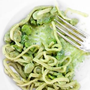 Tagliolini with Almond Pesto and Fava Beans