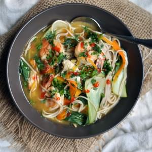 Weeknight Noodle, Vegetable and Shrimp Soup
