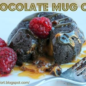 2 Minute Chocolate Mug Cake with Caramel Surprise