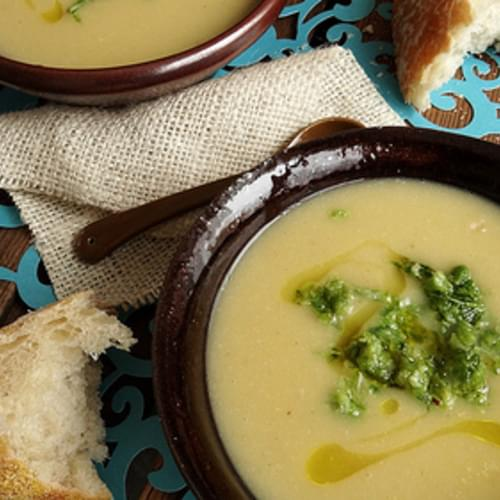 Roasted Garlic Potato Bisque ~ Scape Pesto