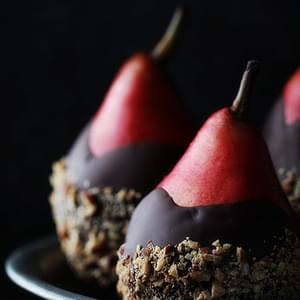 Chocolate Dip Pears with Almond Crunch
