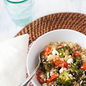 Quinoa Salad with Roasted Tomatoes, Broccoli and Feta