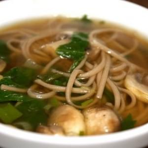 Soba Noodle Soup with Spinach and Mushrooms