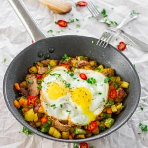 Asparagus Potato Hash with Steak and Eggs