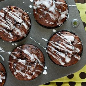 Chocolate Chocolate Chip Banana Muffins with Glaze