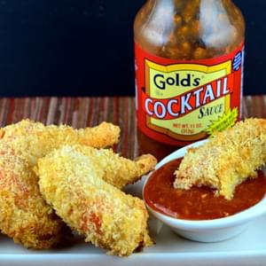 "Baked Coconut ""Shrimp"" with Gold's Cocktail Sauce"
