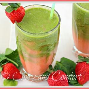 Strawberry Spinach and Pineapple Swirl Smoothie (Dairy Free)
