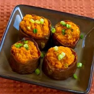 Twice-Baked Sweet Potato Cups with Sour Cream, Chipotle, and Lime