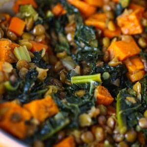 Spicy Lentils with Sweet Potatoes and Kale