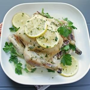 Easy Crock Pot Roasted Chicken w/ Lemon Parsley Butter