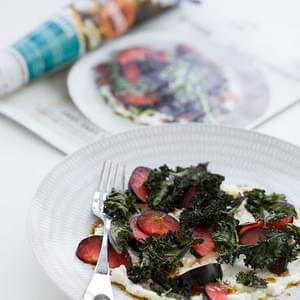 Crispy Kale, Plum, and Ricotta Salad