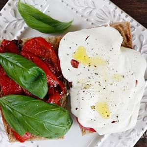 Tomato, Fresh Mozzarella, Roasted Pepper on Whole Wheat Bread