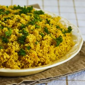 Whole Wheat Couscous with Saffron and Onions