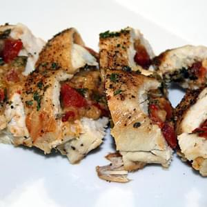 Chicken Breasts Stuffed with Asiago Cheese, Tomatoes and Roasted Red Peppers