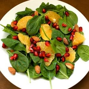 Spinach Salad with Oranges, Pomegranate, and Almonds