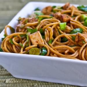 Spicy Whole Wheat Sesame Noodles with Chicken, Green Onions, and Cilantro