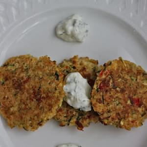 Zucchini & Red Pepper Quinoa Cakes with Dilled Yogurt Sauce