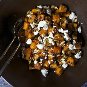 Spicy Squash Salad with Lentils and Goat Cheese