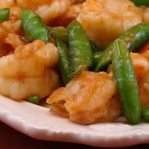 Stir-Fried Shrimp with Snow Peas (or Sugar Snap Peas) and Ginger