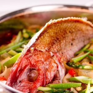 Roast Snapper with Spring Vegetables