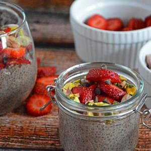 Strawberry, Chocolate and Roasted Pistachio Chia Seed Pudding